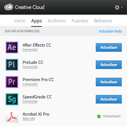Actualizaciones Creative Cloud